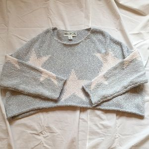 Wildfox Cropped Crewneck with Stars